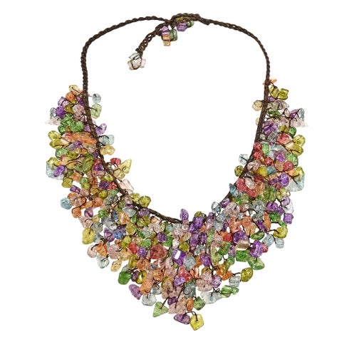 Handmade Multicolor Glass Waterfall Bib Necklace - Green (Thailand)