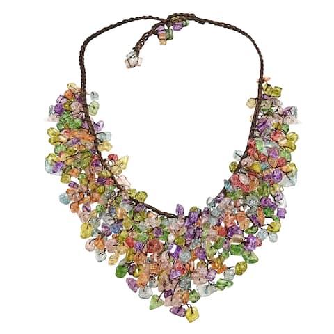 Handmade Multicolor Glass Waterfall Bib Necklace (Thailand)