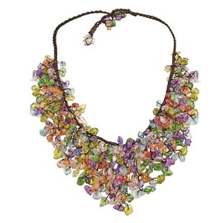 Handmade Multicolor Glass Waterfall Bib Necklace - Green