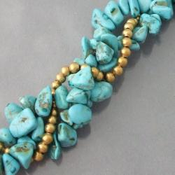 Handmade Goldtone Turquoise Twist Wrap Necklace (Thailand) - Thumbnail 1