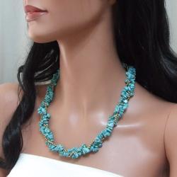 Handmade Goldtone Turquoise Twist Wrap Necklace (Thailand) - Thumbnail 2