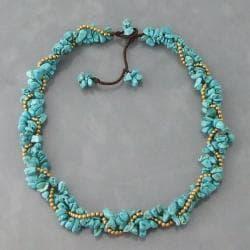Handmade Goldtone Turquoise Twist Wrap Necklace (Thailand)