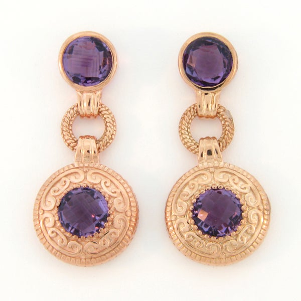 Meredith Leigh Pink-plated Silver Amethyst Earrings