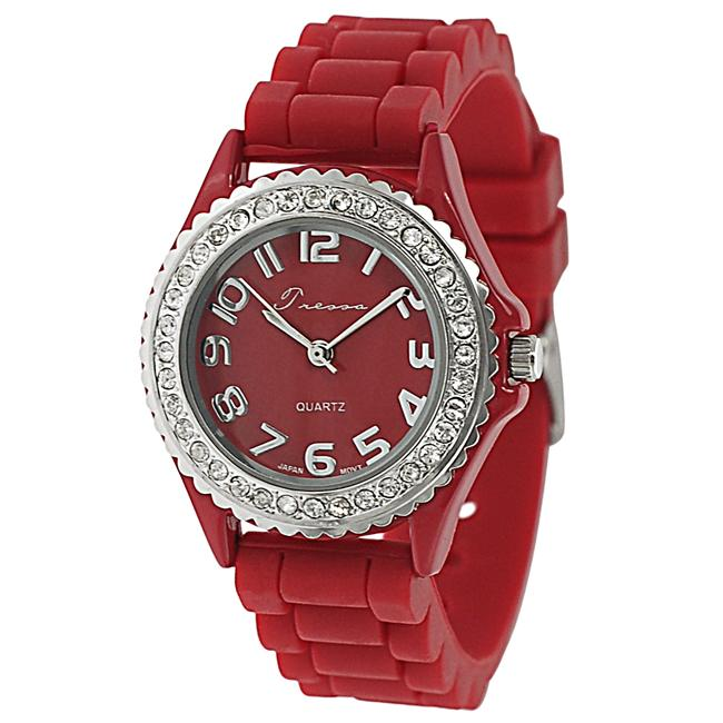 Journee Collection Women's Rhinestone-accented Silicone Watch
