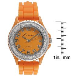 Journee Collection Women's Rhinestone-Accented Orange Silicone Watch
