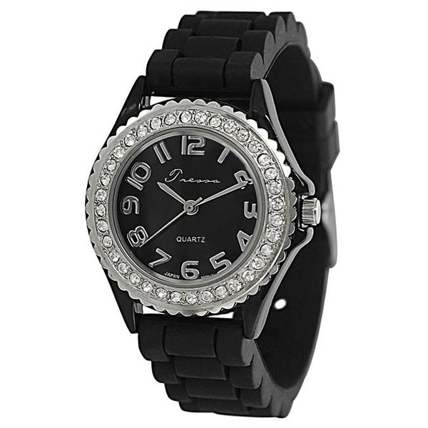 Journee Collection Women's Rhinestone-Accented Black Silicone Watch