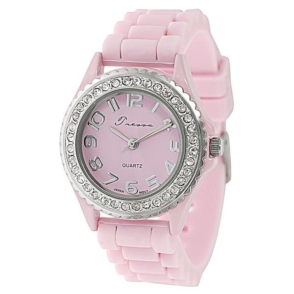 Journee Collection Women's Rhinestone-Accented Pink Silicone Watch
