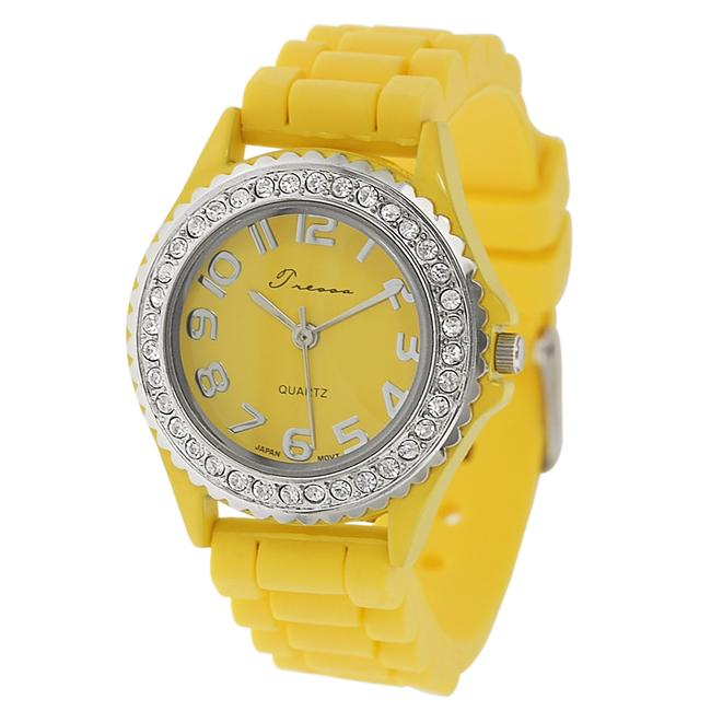 Journee Collection Women's Rhinestone-Accented Yellow Silicone Watch