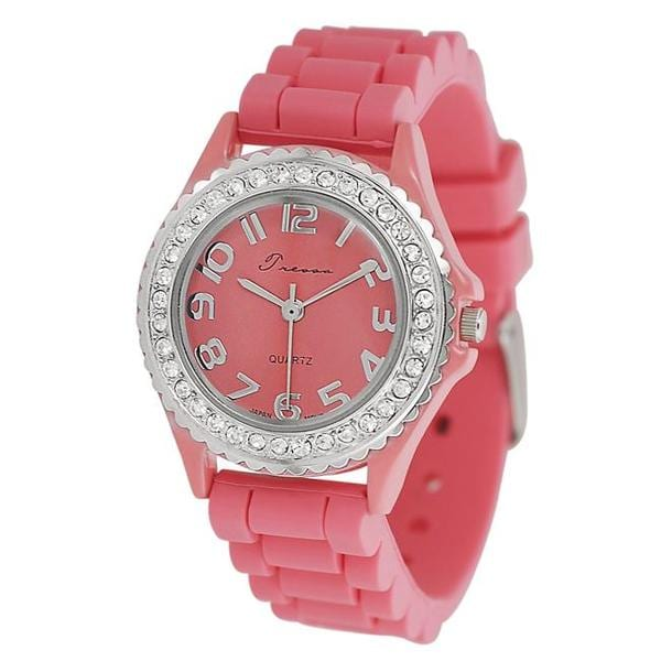 Journee Collection Women's Rhinestone-Accented Melon Silicone Watch