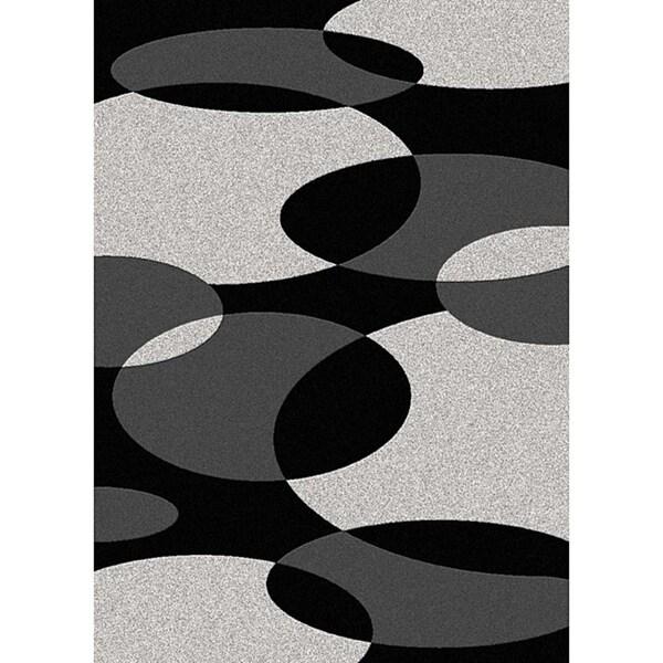 Admire Home Living Brilliance Circles Black/ Grey Area Rug (5'5 x 7'7)