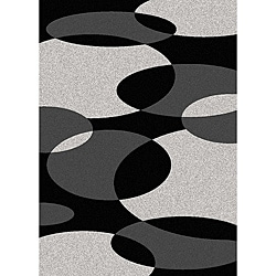 Admire Home Living Brilliance Circles Black/ Grey Area Rug (5'5 x 7'7)