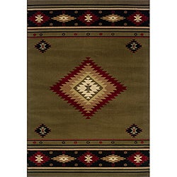 Green/Red Traditional Area Rug (6'7 x 9'6)