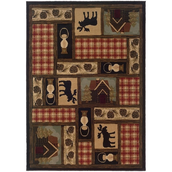 Brown/Red Traditional Area Rug (6'7 x 9'6) - 6'7 x 9'6