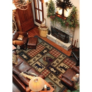 Brown/Red Traditional Area Rug (6'7 x 9'6)
