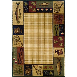 """Beige/Black Traditional Area Rug - 6'7"""" x 9'6"""" - Thumbnail 0"""