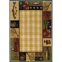 "Beige/Black Traditional Area Rug (6'7 x 9'6) - 6'7"" x 9'6"""