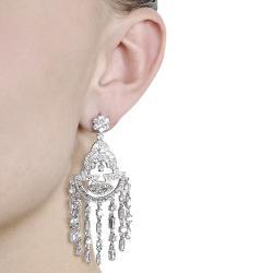Journee Silvertone Cubic Zirconia Dangle Earrings - Thumbnail 2