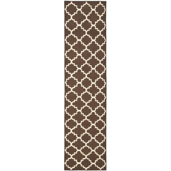 "Safavieh Hand-woven Moroccan Reversible Dhurrie Brown/ Ivory Wool Rug - 2'6"" x 10'"