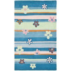 Safavieh Handmade Children's Spring Sky Blue N. Z. Wool Rug (3' x 5')