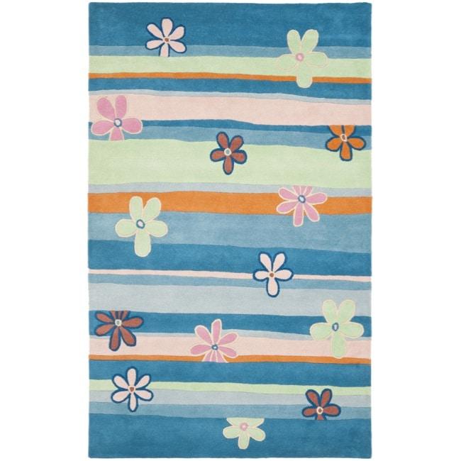 Safavieh Handmade Children's Spring Sky Blue N. Z. Wool Rug (4' x 6')