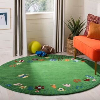 Safavieh Handmade Children's Summer Grass Green N. Z. Wool Rug (6' Round)
