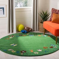 Safavieh Handmade Children's Summer Grass Green N. Z. Wool Rug - 6' x 6' Round
