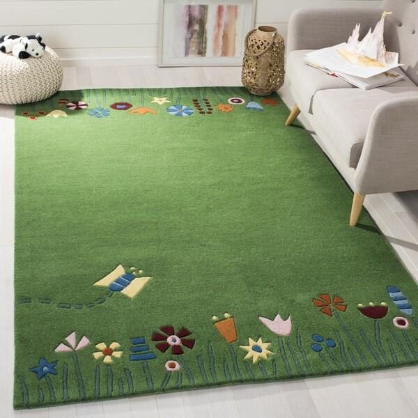 Safavieh Handmade Children's Summer Grass Green N. Z. Wool Rug - 8' x 10'
