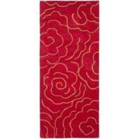 Safavieh Handmade Soho Roses Red New Zealand Wool Runner Rug 2'6 x 14') (2' 6 x 14') - 2'6 x 14'