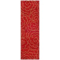 "Safavieh Handmade Soho Roses Red New Zealand Wool Runner Rug 2'6 x 14') - 2'6"" x 14'"