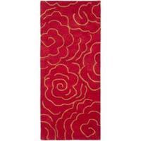 Safavieh Handmade Soho Roses Red New Zealand Wool Rug - 2'6 x 10'
