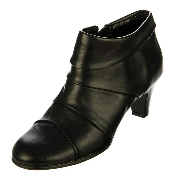 e0dc6a66490 Shop Aerosoles Women s  Play Pleat  Black Pleated Booties - Free ...