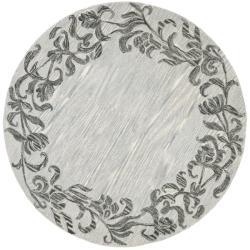 Safavieh Handmade New Zealand Wool Floral Border Silver Rug (6' Round)