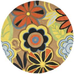 Safavieh Handmade New Zealand Wool Flower Power Brown Rug (6' Round)