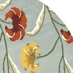 Safavieh Handmade New Zealand Wool Botanical Blue Rug (6' Round) - Thumbnail 1