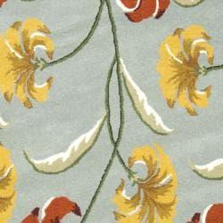 Safavieh Handmade New Zealand Wool Botanical Blue Rug (6' Round) - Thumbnail 2