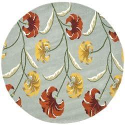 Safavieh Handmade New Zealand Wool Botanical Blue Rug (6' Round) - 6' - Thumbnail 0