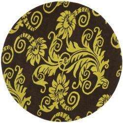 Safavieh Handmade New Zealand Wool Paris Brown/ Green Rug (6' Round)