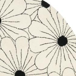 Safavieh Handmade New Zealand Wool Daisies Ivory Rug (6' Round) - Thumbnail 1