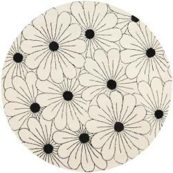 Safavieh Handmade New Zealand Wool Daisies Ivory Rug (6' Round) - Thumbnail 0