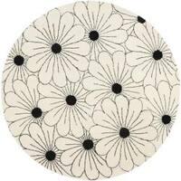 Safavieh Handmade New Zealand Wool Daisies Ivory Rug - 6' x 6' Round
