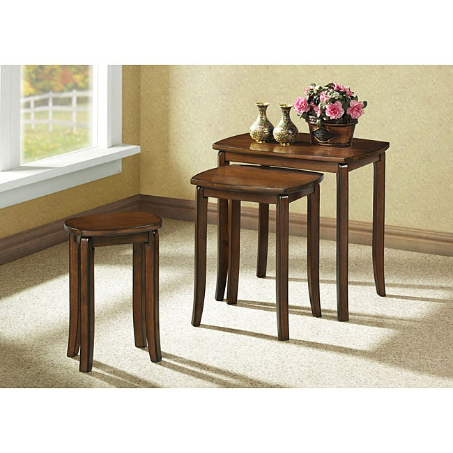 Walnut Solid Top 3-piece Nesting Tables  deep</li></ul><br /> <b>  <i>Assembly required</i></b>