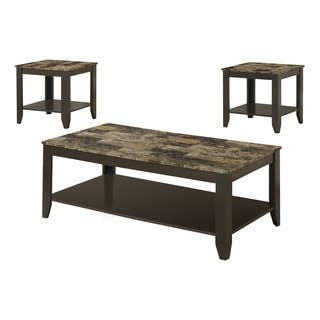 3 piece living room table set. Cappuccino  Marble Top 3 piece Promotional Table Set Sets Coffee Console Sofa End Tables For Less Overstock com