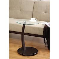 Porch & Den Ballard Shilshole Tempered Glass/ Bentwood Accent Table