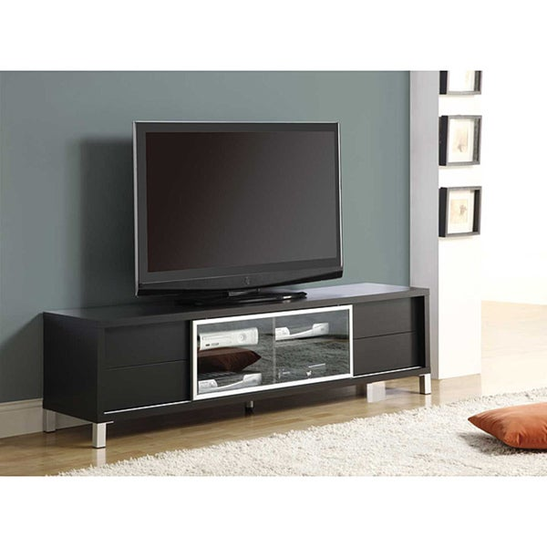 shop cappuccino hollow core flat panel tv stand free shipping today overstock 6220900. Black Bedroom Furniture Sets. Home Design Ideas