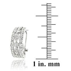 Icz Stonez Rhodiumplated Cubic Zirconia Hoop Earrings - Thumbnail 2
