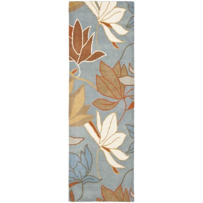 Safavieh Handmade Soho Lakeside Blue New Zealand Wool Rug (2'6 x 8')