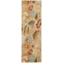 Safavieh Handmade Soho Flora Beige New Zealand Wool Rug (2'6 x 8')