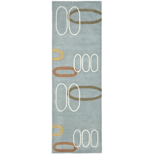 "Safavieh Handmade Soho Modern Abstract Blue Wool Rug - 2'6"" x 8'"