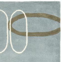 Safavieh Handmade Soho Modern Abstract Blue Wool Rug (2'6 x 8') - Thumbnail 1