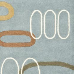 Safavieh Handmade Soho Modern Abstract Blue Wool Rug (2'6 x 8') - Thumbnail 2